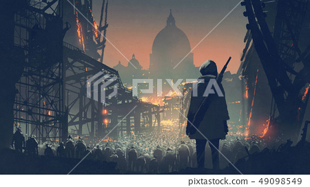 a crowd of people in apocalyptic city 49098549