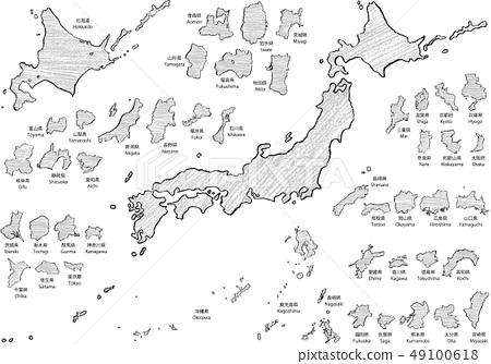 Japan map crayon a 49100618