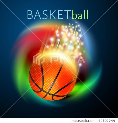 basketball sport ball flying over rainbow 49102249