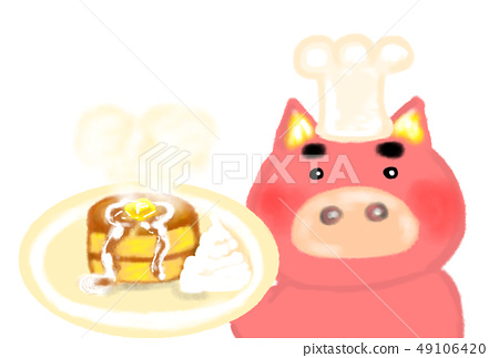 Pig cook who makes delicious hot cake. 49106420