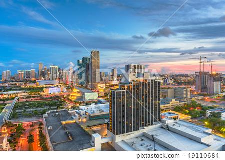 Miami, Florida, USA aerial skyline at dusk. 49110684