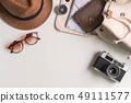 Retro camera with travel accessories and items 49111577