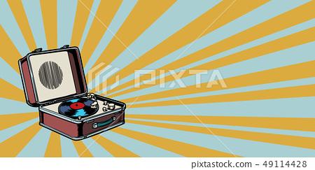 retro vinyl record player pop art background 49114428