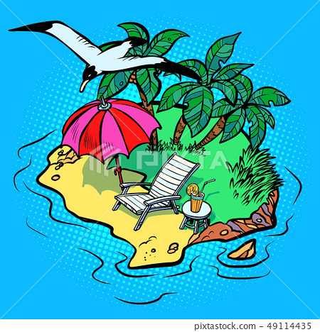 tropical island tourist resort beach chaise longue, bird Seagull 49114435