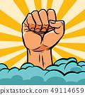 pop art fist above the clouds 49114659