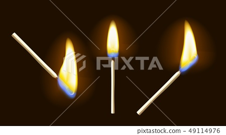 Realistic burning match set 49114976