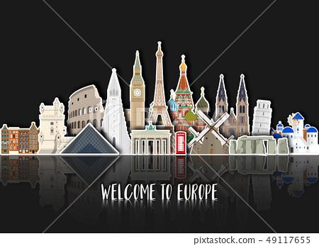Europe famous Landmark paper art. Global Travel 49117655