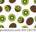 Seamless pattern of kiwi fruit on white background 49118578