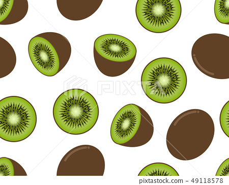 Seamless pattern of kiwi fruit on white background 49118578