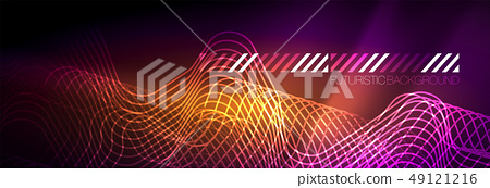 Glowing Neon Abstract Lines Techno Futuristic Stock