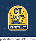 Excavator and construction service badge banner. 49122742