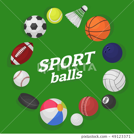 Ball games. Sports equipment collection balls soccer hockey baseball basketball billiard colorful