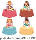 Children eating. Kids eat dinner table child breakfast lunch fast food dining girl boy cartoon 49123390