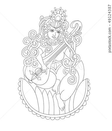 black and white drawing of indian hindu goddess 49124387