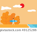 summer concept, man with surfboard on beach 49125286