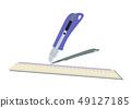 切刀的圖像。文具剪貼畫。紙和刀具。 49127185