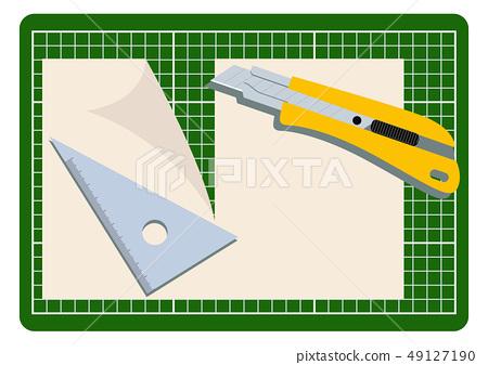 切刀的圖像。文具剪貼畫。紙和刀具。 49127190