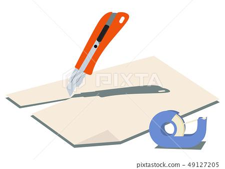 切刀的圖像。紙和刀具。文具剪貼畫。 49127205