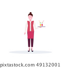 woman waitress holding tray with fresh cocktails restaurant worker in uniform standing pose cartoon 49132001