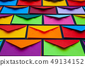 Composition with white and colored envelopes on 49134152