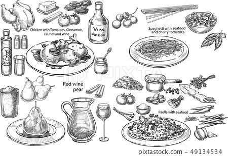 Mediterranean dishes. 49134534