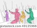 Illustration of artists paining in art studio 49135966