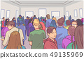 Illustration of students visiting art museum 49135969