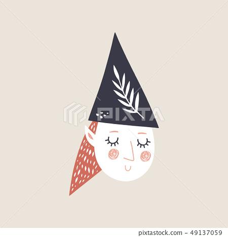 Vector cute doodle girl elf face, decor cut out 49137059
