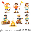 Girls and boys in camping costume. 49137558