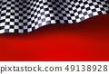 Waving checkered racing flag on red background 49138928