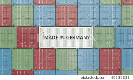 Container with MADE IN GERMANY text. German import or export related 3D rendering 49139831