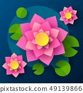 Top View Of Lotus In Cartoon Style Dark 49139866