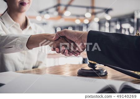 Handshake after good cooperation, Businesswoman Shaking hands wi 49140269