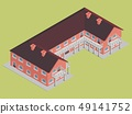 brick building hotel with brown roof isometric 49141752