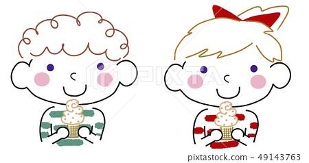 파란 눈의 소프트 아이스크림 아가 & 여자 녹색 ✖ 레드 49143763
