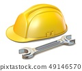 Construction helmet with a wrench 3D 49146570