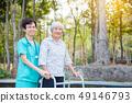 senior, nurse, park 49146793