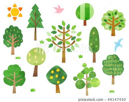 水彩風格的插圖樹 49147430