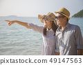 asian love couple travel on the sea in summer 49147563