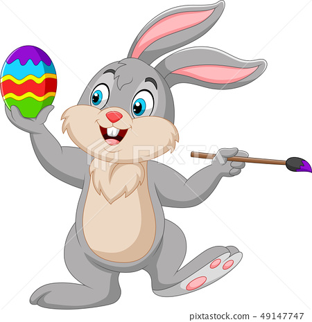 Cartoon rabbit painting an Easter egg 49147747