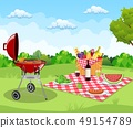 Summer picnic concept with basket, 49154789