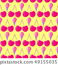 pattern with cherries and ice cream 49155035