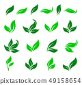 set of curved green leaves design icons 49158654
