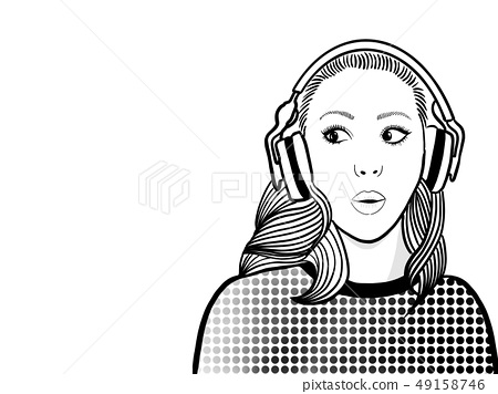 Woman is surprising while listening to radio