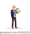 Boss Through Magnifying Glass Examines The Candidate Resume Vector Flat Cartoon Illustration 49160256