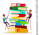 Business Training. Female And Male Business People Climbing Onto Large Stack Of Books Vector Flat 49160313