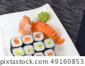 Maki rolls and nigiri sushi on a plate 49160853