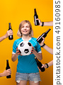 Image of sports blonde with arms choosing between ball and bottle of alcohol 49160985