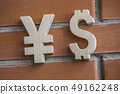 Exchange rate. Wooden yuan or yen and dollar symbol on brick wall background 49162248