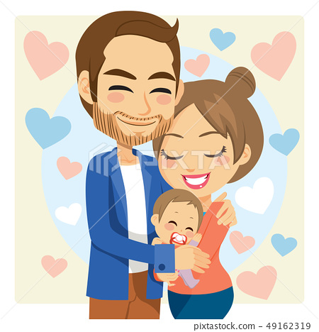 Mom and Dad Hugging Baby 49162319